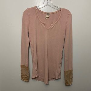 Free People Thermal Henley Pink Mauve Top